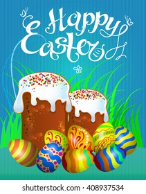 easter composition with eggs and easter cake traditional folk illustration good for your design