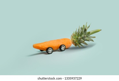 Easter concept. Abstract car made from carrot