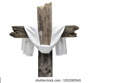 Easter cross isolated on white. He is risen concept.