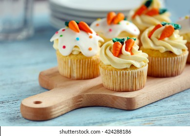 Easter cupcakes on cutting board, closeup
