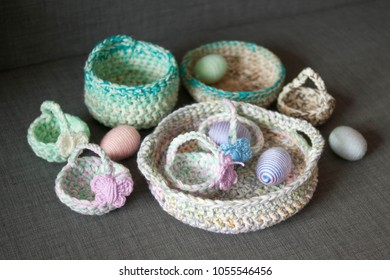 Easter Decoration Crochet Mini Basket Striped Colorful Egg Wrapped In Soft Yarn Thread