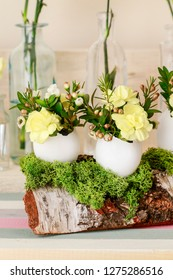 Easter decoration with egg shell, carnation flower, buxus, chamelaucium and moss. Step by step, tutorial.