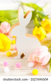 Easter decoration on a white wooden background
