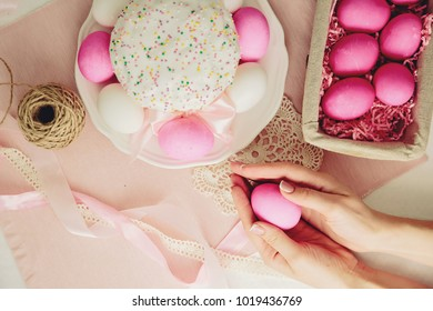 easter decoration, pink eggs