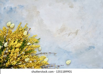 Easter decoration, pussy-willow and mimosa flowers on blue background.Copy space, top view. Easter celebration concept.