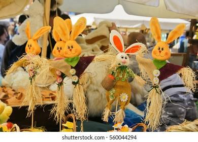 Easter decoration rabbits. Easter market in Karków.