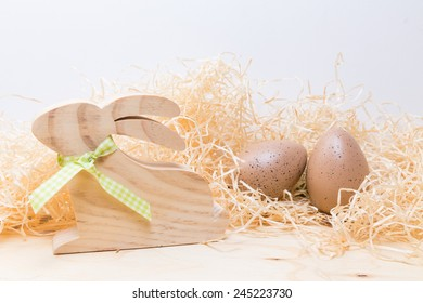 easter decoration with wood rabbit