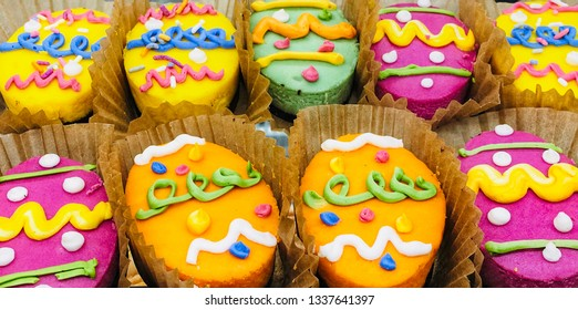 Easter egg cakes in a bakery