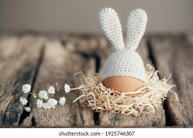 Easter egg in a crocheted hat with bunny ears in a nest on old wooden boards. Home happy easter decoration concept.