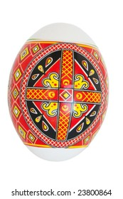 Easter egg decorated with the Ukrainian national figure on a white background