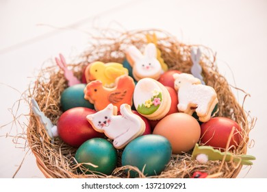 easter egg decorations in a backet