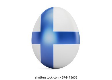 Easter egg with flag of Finland, 3D rendering