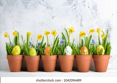 Easter egg with grass and daffodil,easter decoration