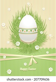 Easter Egg with grass flowers ribbon