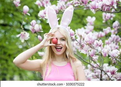 easter egg in hand of happy woman. easter egg, traditional food, handmade