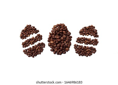 Easter egg made with roasted coffee beans placed on white background from the top view can use for your messages