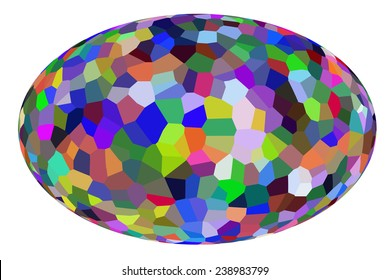 Easter egg with multicolored mosaic isolated on white