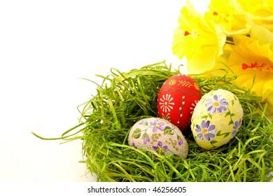 Easter egg on green grass background