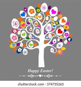 Easter egg tree. Vintage card.  Illustration