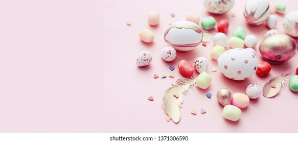 easter Eggs background with candyes