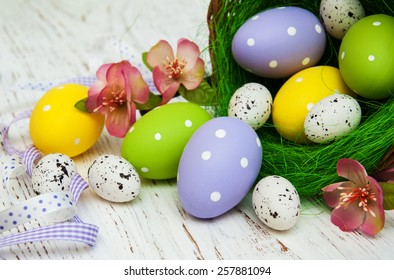 Easter eggs in a basket on a old wooden background