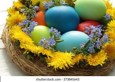 Easter eggs basket/ painted Easter eggs/ Easter background/ spring flowers/ Easter flowers