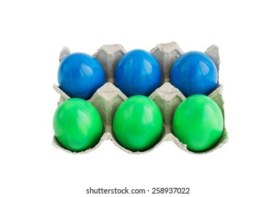 Easter eggs in box isolated over white