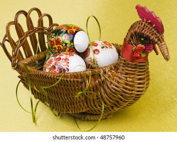 Easter eggs are in a braiding basket