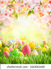 Easter eggs, bunny and spring flowers on meadow. Easter concept. Spring or summer background with fresh grass on blue sky backdrop with copy space.