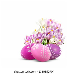 Easter eggs and crocuses isolated on white background. Easter decoration.