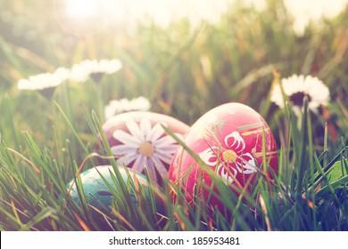 Ostereier und Gänseblümchen im Gras