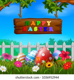 Easter eggs at the fence with wood sign