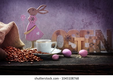 """Easter"" - Easter eggs and fresh coffee for Easter breakfast"