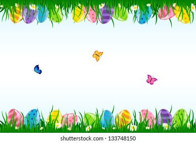 Easter eggs in the grass and butterflies, illustration.
