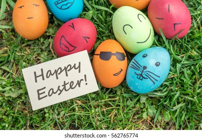 Easter eggs and greeting card / Happy Easter / Greeting card