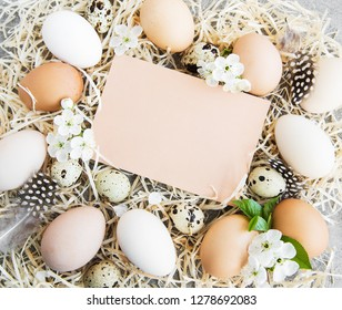 Easter eggs and greeting card on a concrete background