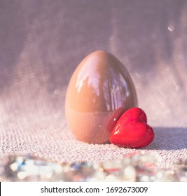 Easter eggs. Happy easter greeting card.  Soft focus, bokeh effect. Top view with copy space.