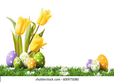Easter eggs hiding in the grass with tulips isolated on white