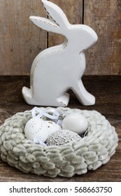 Easter eggs hunt - Bunny with nest of eggs