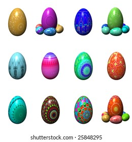 easter eggs isolated on the white