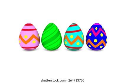 easter eggs isolated on white (3D render)