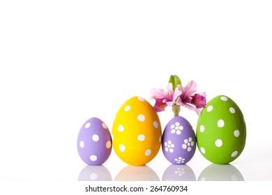 easter eggs isolated on white. studio shot