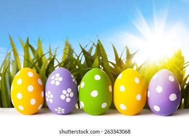 Easter eggs lying on the meadow. studio shot