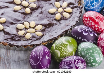 easter eggs and mazurek traditional polish easter chocolate cake
