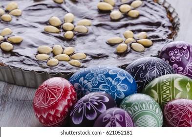 easter eggs and mazurek traditional polish easter chocolate cake