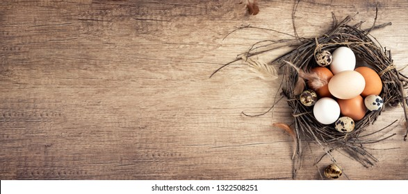 Easter eggs in nest on vintage plank, directly above