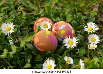 Easter eggs. Easter. Eggs in the nest. Painted eggs. Flowers, daisies. Peace.