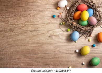 Easter eggs in the nest. Spring happy holiday. Spring greeting card