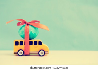 Easter eggs on car/ easter concept in vintahe color
