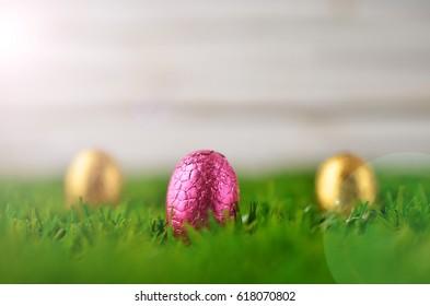 Easter eggs on grass.
